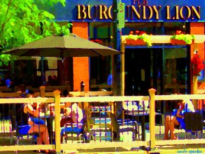 sidewalk-cafe-lunch-on-the-terrace-burgundy-lion-pub-st-henri-montreal-scene-carole-spandau-carole-spandau